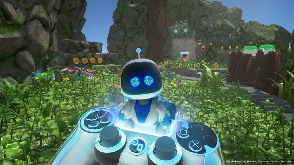 Exploring the world with this little buddy is great fun, and is one of the best VR games for kids. Photo credit: ASTRO BOT: Rescue Mission.