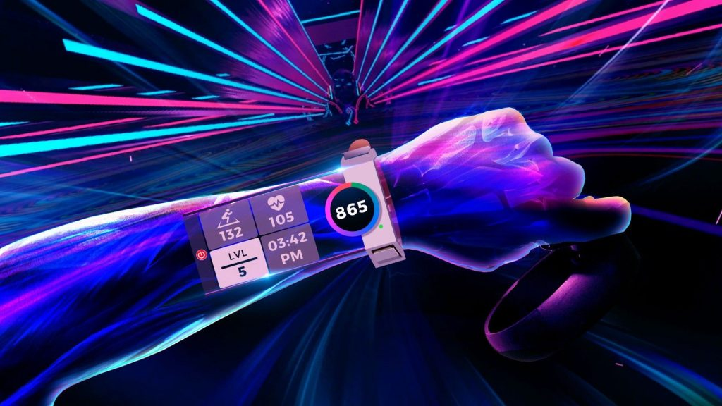 Synth Riders lets you count your calories. Photo credit: Kluge Interactive.