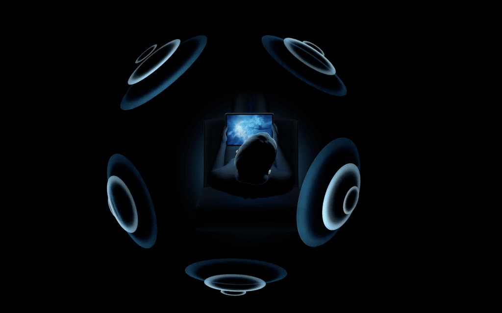 Apple showing spatial audio with the AirPods. Photo credit: Apple.